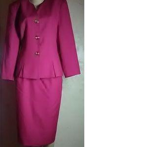 Kasper Bright Pink Vintage Skirt Suit Size 12/10